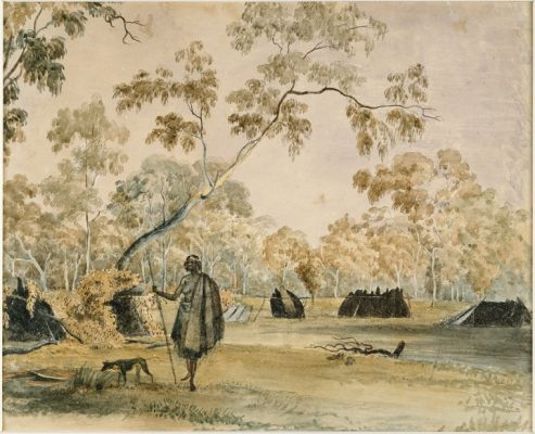 John-Cotton,-Aboriginal-camp-on-the-banks-of-the-Yarra,-c1845-urban-flavours